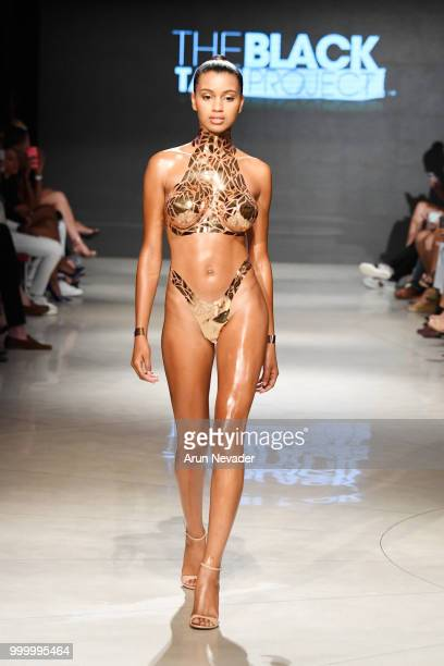 A model walks the runway for Black Tape Project at Miami Swim Week powered by Art Hearts Fashion Swim/Resort 2018/19 at Faena Forum on July 15 2018...