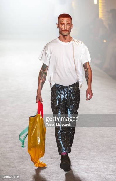 A model walks the runway for Brain Beast show during the Barcelona 080 Fashion Week on June 27 2018 in Barcelona Spain