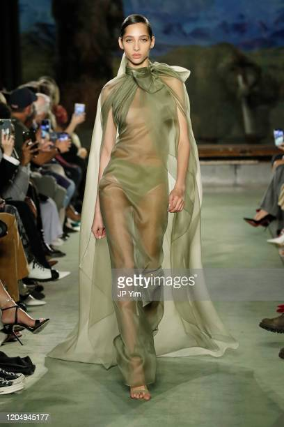 Model walks the runway for Brandon Maxwell during New York Fashion Week: The Shows at American Museum of Natural History on February 08, 2020 in New...