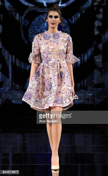 A model walks the runway for Burning Guitars Clothing at New York Fashion Week NYFW Art Hearts Fashion SS/18 at The Angel Orensanz Foundation on...