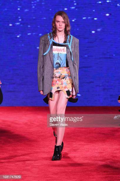 A model walks the runway for Calvin Klein Collection during New York Fashion Week at New York Stock Exchange on September 11 2018 in New York City