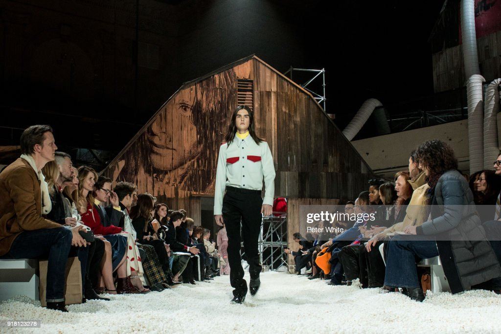 A model walks the runway for Calvin Klein Collection during New York Fashion Week on February 13, 2018 in New York City.
