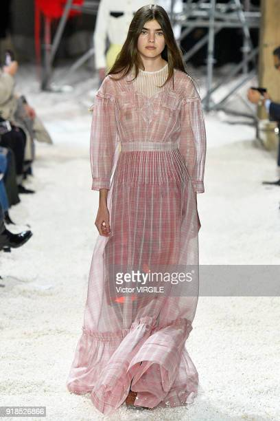 A model walks the runway for Calvin Klein Collection Ready to Wear Fall/Winter 20182019 fashion show during New York Fashion Week on February 13 2018...