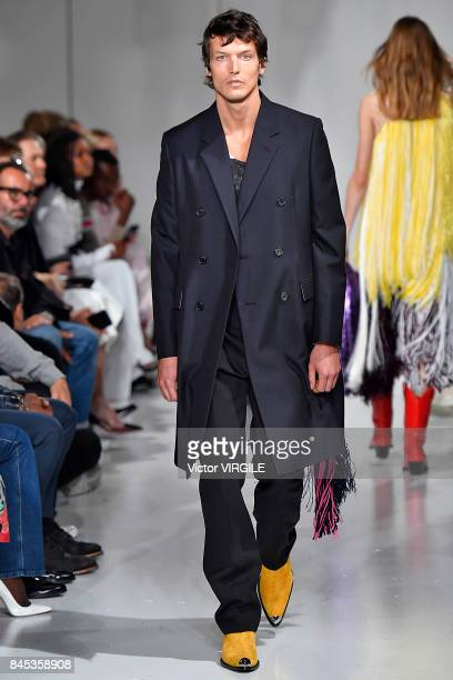 A model walks the runway for Calvin Klein Collection Spring/Summer 2018 fashion show during New York Fashion Week on September 7 2017 in New York City