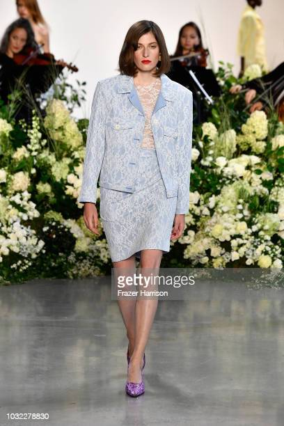 A model walks the runway for Calvin Luo during New York Fashion Week The Shows at Gallery I at Spring Studios on September 12 2018 in New York City