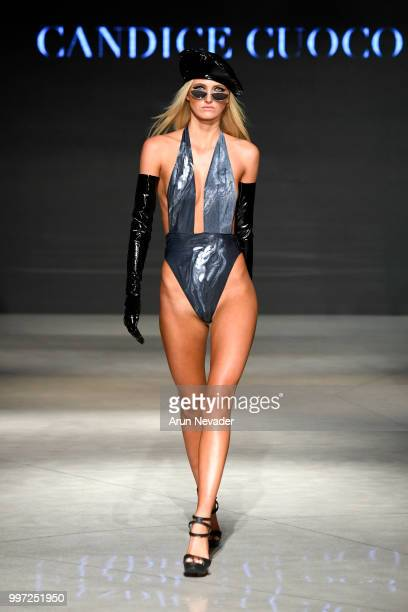 A model walks the runway for Candice Cuoco at Miami Swim Week powered by Art Hearts Fashion Swim/Resort 2018/19 at Faena Forum on July 12 2018 in...