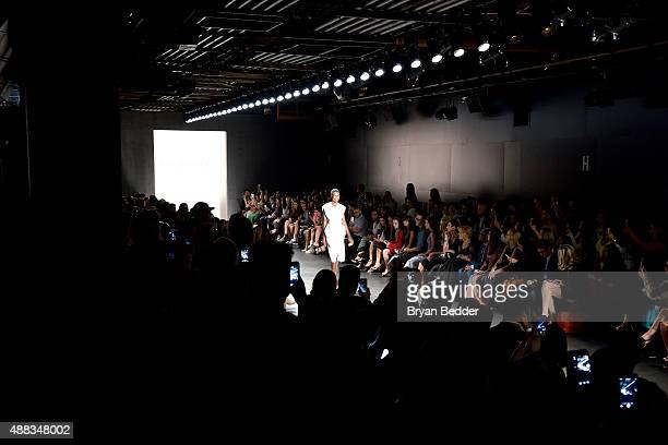 A model walks the runway for Carmen Marc Valvo seen around Skylight at Moynihan Station during Spring 2016 New York Fashion Week The Shows on...