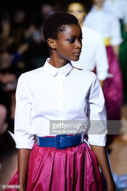 A model walks the runway for Carolina Herrera during New York Fashion Week The Shows at The Museum of Modern Art on February 12 2018 in New York City