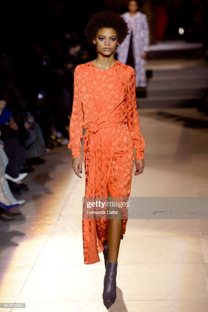 A model walks the runway for Carolina Herrera during New York Fashion Week: The Shows at The Museum of Modern Art on February 12, 2018 in New York City.