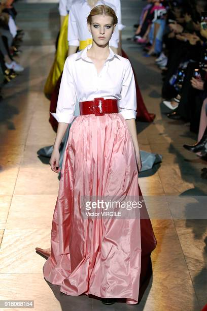 A model walks the runway for Carolina Herrera Ready to Wear Fall/Winter 20182019 fashion show during New York Fashion Week on February 12 2018 in New...