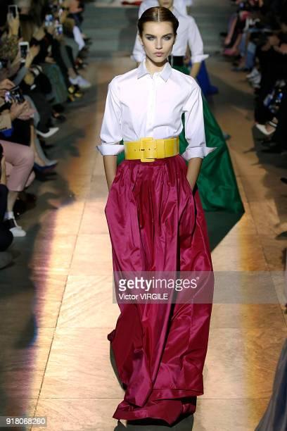 A model walks the runway for Carolina Herrera Ready to Wear Fall/Winter 20182019 fashion show during New York Fashion Week on February 12 2018 in New...