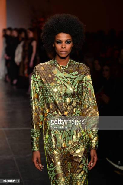 Model walks the runway for Ceremony: Xuly.Bet x Mimi Prober x Hogan McLaughlin front row during New York Fashion Week presented by First Stage at...