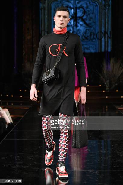 A model walks the runway for CHARLES AND RON At New York Fashion Week Powered By Art Hearts Fashion NYFW at The Angel Orensanz Foundation on February...