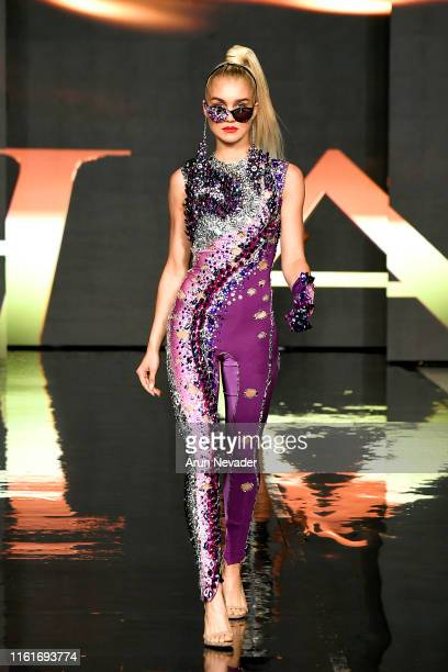 Model walks the runway for CHAVEZ INC. At Miami Swim Week Powered By Art Hearts Fashion Swim/Resort 2019/20 at Faena Forum on July 12, 2019 in Miami...