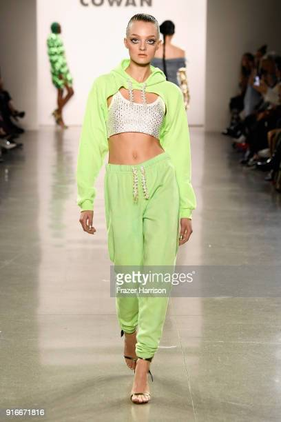 A model walks the runway for Christian Cowan during New York Fashion Week The Shows at at Gallery II at Spring Studios on February 10 2018 in New...