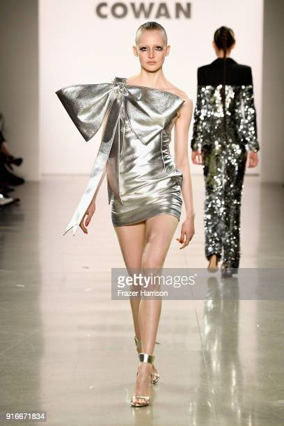 Model walks the runway for Christian Cowan during New York Fashion Week: The Shows at at Gallery II at Spring Studios on February 10, 2018 in New...