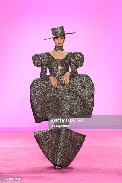 Model walks the runway for Christian Siriano during New York Fashion Week: The Shows at Gallery I at Spring Studios on February 06, 2020 in New York...