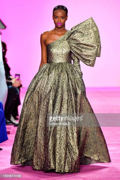 Model walks the runway for Christian Siriano Ready to Wear Fall/Winter 2020-2021 fashion show during New York Fashion Week on February 06, 2020 in...