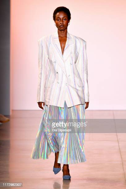 A model walks the runway for Christopher John Rogers during New York Fashion Week The Shows at Gallery II at Spring Studios on September 07 2019 in...