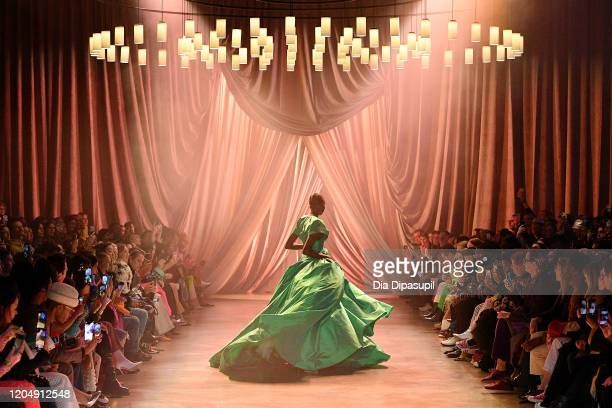 Model walks the runway for Christopher John Rogers during New York Fashion Week: The Shows at Gallery I at Spring Studios on February 08, 2020 in New...