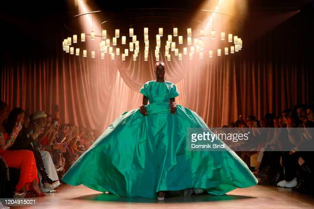 A model walks the runway for Christopher John Rogers during New York Fashion Week The Shows at Gallery I at Spring Studios on February 08 2020 in New...