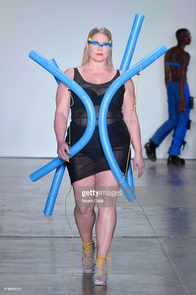 A model walks the runway for Chromat during New York Fashion Week: The Shows at Industria Studios on February 9, 2018 in New York City.
