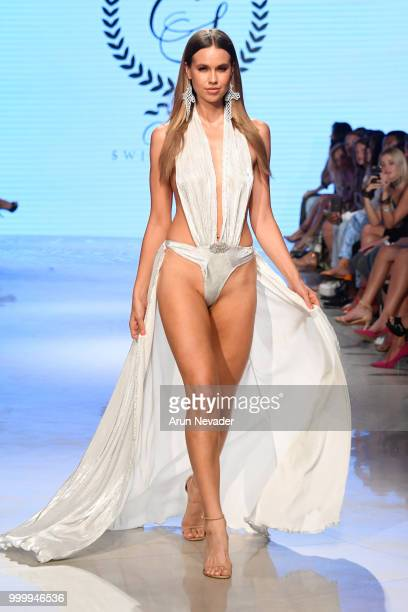 A model walks the runway for Cirone Swim at Miami Swim Week powered by Art Hearts Fashion Swim/Resort 2018/19 at Faena Forum on July 15 2018 in Miami...