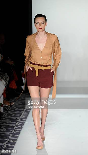 A model walks the runway for CLD during the PretAPorter Runway at Affinia Hotel on February 14 2016 in New York City