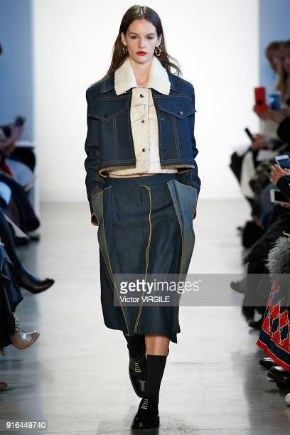 A model walks the runway for Colovos Ready to Wear Fall/Winter 2018/2019 fashion show during New York Fashion Week on February 8 2018 in New York City