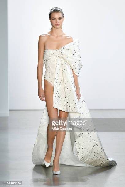 Model walks the runway for Cong Tri during New York Fashion Week: The Shows at Gallery I at Spring Studios on September 09, 2019 in New York City.