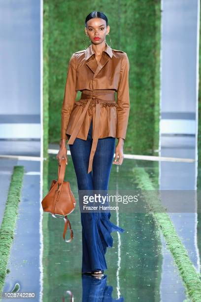 A model walks the runway for Cushnie during New York Fashion Week The Shows at Gallery I at Spring Studios on September 7 2018 in New York City