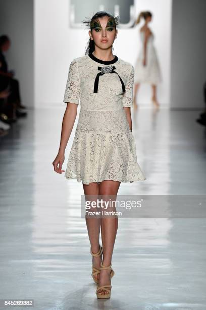 A model walks the runway for Dan Liu fashion show during New York Fashion Week The Shows at Gallery 3 Skylight Clarkson Sq on September 10 2017 in...