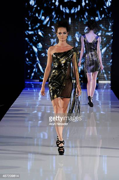 Model walks the runway for Dan Richters at Taglyan Cultural Complex on October 13 2014 in Hollywood California