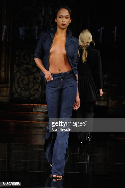 A model walks the runway for Datari Austin Fashion Show at Art Hearts Fashion SS/18 at The Angel Orensanz Foundation on September 7 2017 in New York...