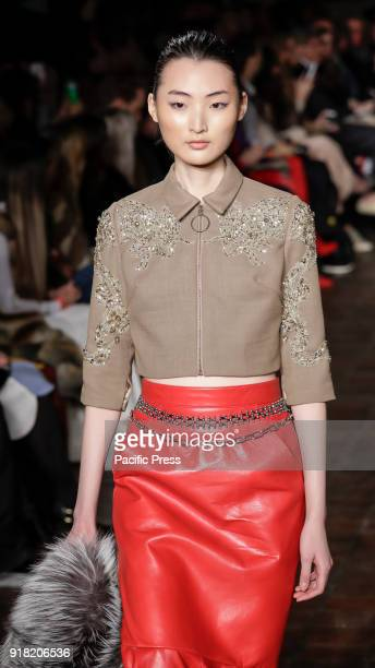 S EPISCOPAL CH NEW YORK UNITED STATES A model walks the runway for Dennis Basso Fall/Winter 2018 runway show during New York Fashion Week at Saint...