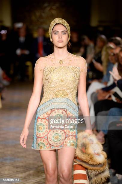 A model walks the runway for Dennis Basso fashion show during New York Fashion Week The Shows at The Plaza Hotel on September 11 2017 in New York City