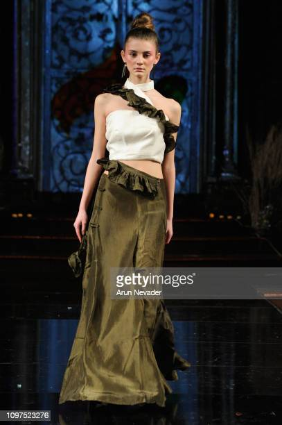 A model walks the runway for DESIGN DREAMS MYSTERY At New York Fashion Week Powered By Art Hearts Fashion NY at The Angel Orensanz Foundation on...