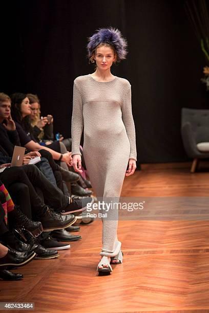 A model walks the runway for designer Nicklas Skovgaard during Copenhagen Fashion Week Autumn/Winter 2015 on January 28 2015 in Copenhagen Denmark