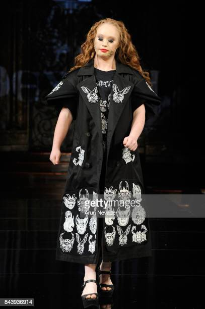 A model walks the runway for Dexter Simmons Fashion Show at Art Hearts Fashion SS/18 at The Angel Orensanz Foundation on September 7 2017 in New York...