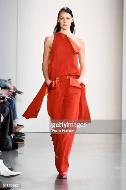 A model walks the runway for Dion Lee during New York Fashion Week The Shows at Gallery I at Spring Studios on February 10 2018 in New York City