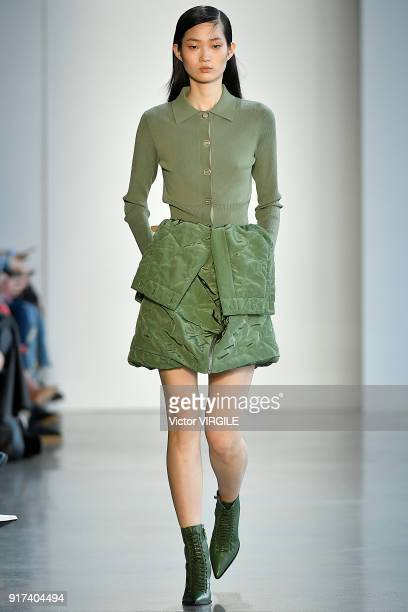 A model walks the runway for Dion Lee Ready to Wear Fall/Winter 20182019 fashion show during New York Fashion Week on February 10 2018 in New York...