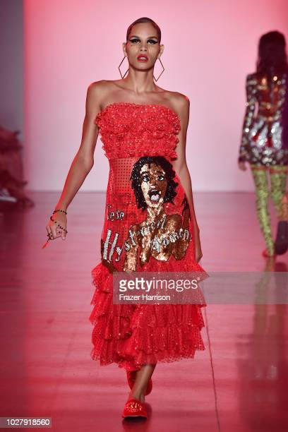 A model walks the runway for Discount Universe during New York Fashion Week The Shows at Gallery II at Spring Studios on September 6 2018 in New York...