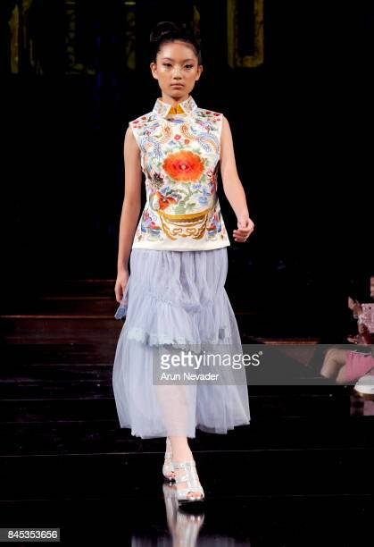 A model walks the runway for DKLTJU at New York Fashion Week NYFW Art Hearts Fashion at The Angel Orensanz Foundation on September 10 2017 in New...
