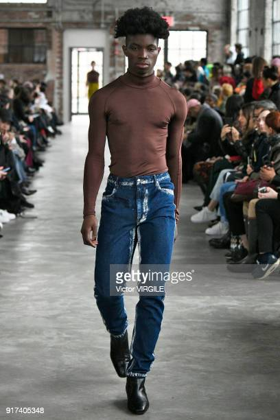 A model walks the runway for Eckhaus Latta Ready to Wear Fall/Winter 20182019 fashion show during New York Fashion Week on February 10 2018 in New...