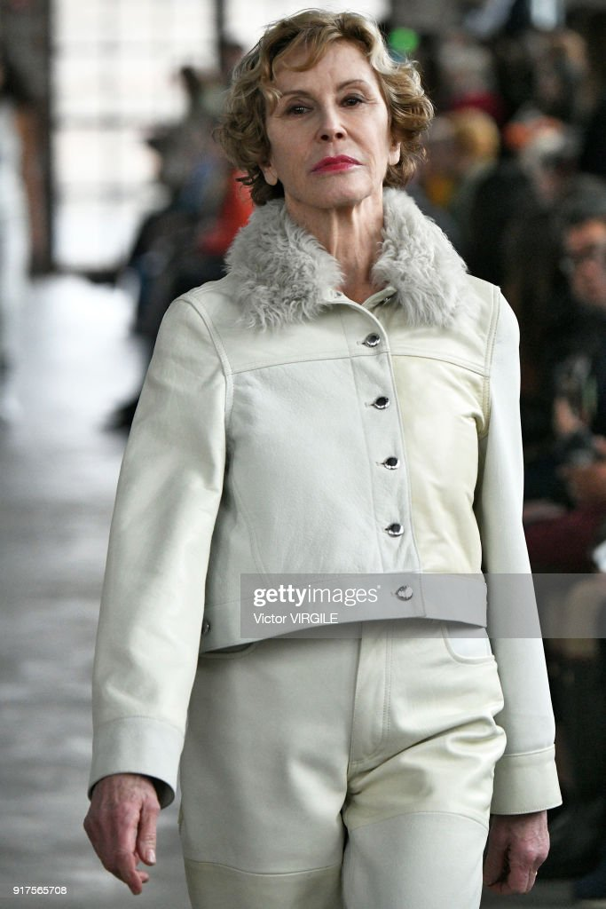 A model walks the runway for Eckhaus Latta Ready to Wear Fall/Winter 2018-2019 fashion show during New York Fashion Week on February 10, 2018 in New York City.