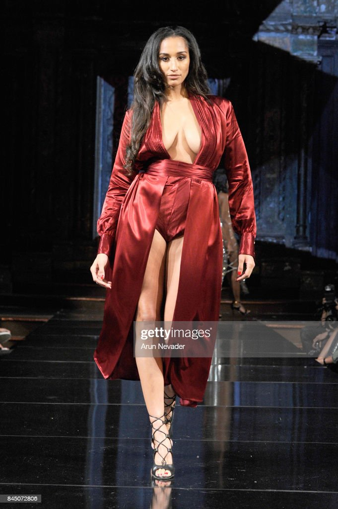 A model walks the runway for Ellae Lisque at New York ...