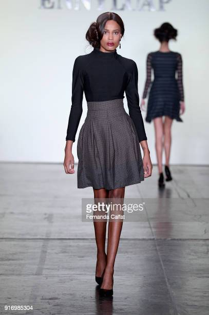 A model walks the runway for Ennyluap during New York Fashion Week The Shows at Industria Studios on February 11 2018 in New York City