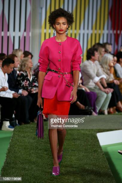 A model walks the runway for ESCADA SS19 at Park Avenue Armory on September 9 2018 in New York City