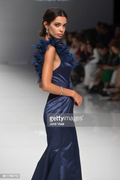 Model walks the runway for Esther Noriega collection during Barcelona Bridal Fashion Week at Fira de Barcelona on April 26, 2018 in Barcelona, Spain.