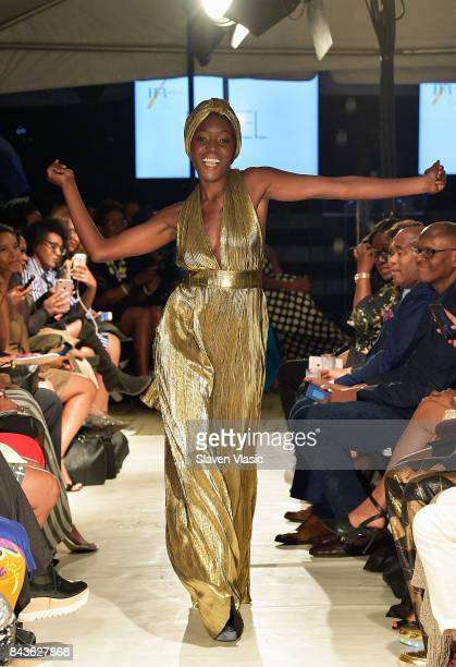 A model walks the runway for Fe Noel fashion show a part of Harlem's Fashion Row during New York Fashion Week at La Marina Restaurant Bar Beach...